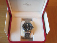 stunning omega professional seamaster watch full size auto complete with box,s warranty cards etc