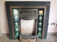 Victorian Cast Iron Fire Surround With Tiles & Grate