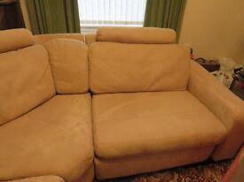 Beige suede effect corner sofa suite