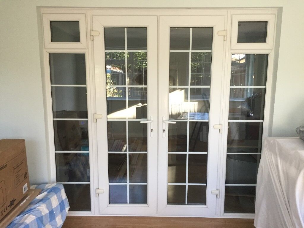 Georgian French Doors And Side Panels In Excellent Condition