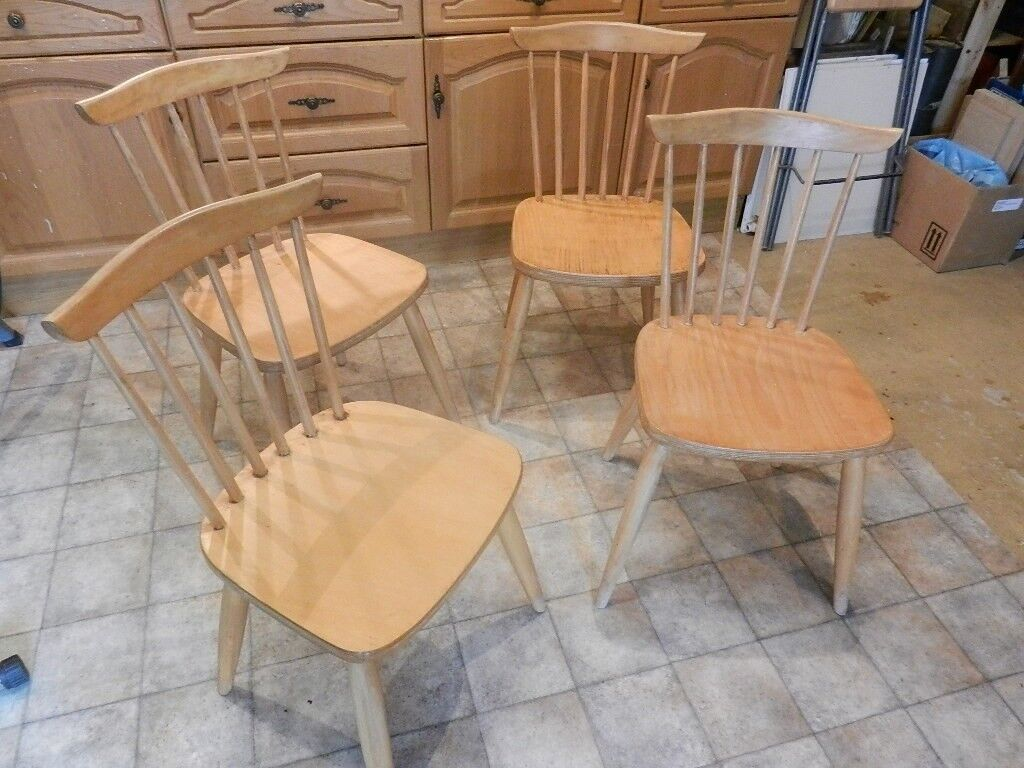 ikea 4 nos beech wood windsor style kitchen dining chairs in