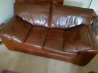 Next Brown Leather 3 seater Sofa