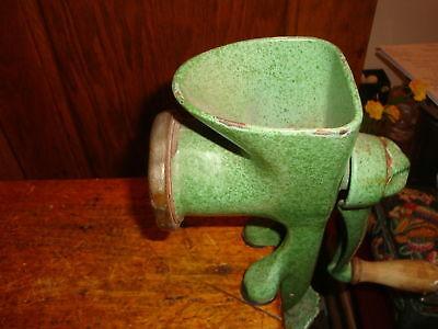 Antique Harper Meat Grinder Green Splatterware Enamel England Table Mount