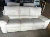 Excellent condition Beige Leather Reclining Three Piece Suite from Gillies
