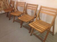 Set of 4 Habitat Zeno Solid Oak Folding Garden Chairs or Patio Chair VGC