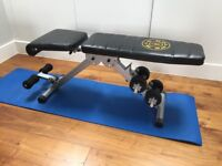Gold Gym weights bench with weights
