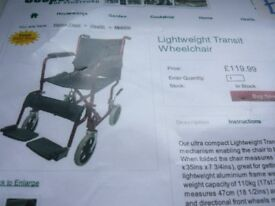 LIGHTWEIGHT FOLDING WHEEL CHAIR HARDLY USED BARGAIN