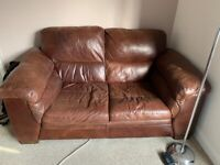 2 x real leather sofas for sale REDUCED £200 need quick sell