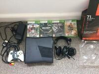 XBOX 360 console S 250 GB Plus Games Bundle. Turtle beach headset. Wired controller.