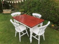 Farmhouse dining table with four chairs