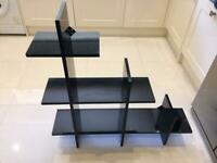 Shelves: Black gloss reflective L shape
