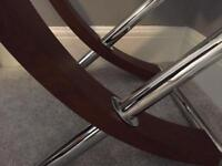 Two side tables glass with wooden legs