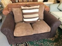 Brand New Brown Jumbo Cord 2 Seater Fabric Sofa