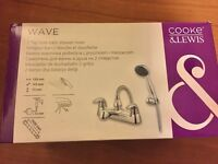BRAND NEW IN BOX bath mixer taps. Easy turn chrome taps