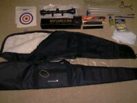 rifle accessories , sleeves , silencers , scopes , cleaning kit , ect ,