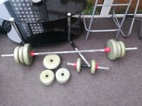 2x dumb bells and 1x bar bell with 29.4KG in weights