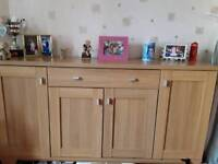 Three lovely items of wooden front room furniture. Corner unit ,sideboard and matching DVD stand