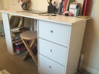 Desk with book shelf and 3 drawers