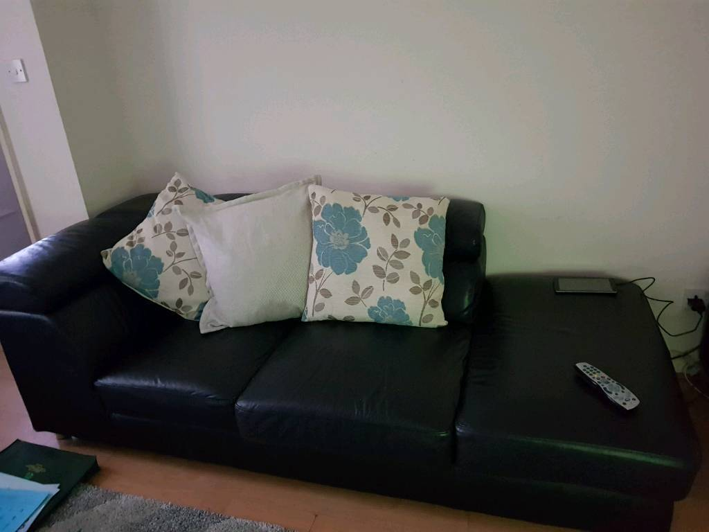 Leather 3 seater sofa plus large chair