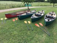 4 used 3 seat canadian canoes