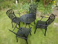 GARDEN FURNITURE SET - TABLE AND 4 CARVER CHAIRS - CAST ALUMINIUM -