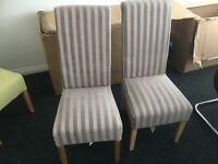 Dining Chairs x2 Krista Velvet Stripe Mink