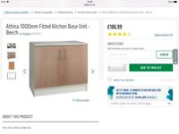 Brand new in box. Argos Athina 1000mm wide fitted kitchen base unit/cupboard in Beech