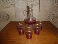 Glass wear drinking set 1 decanter 5 glasses burgandy pattern £5