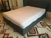 Grey fabric ottoman King size storage bed, nearly new