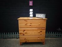 PINE CHEST OF DRAWERS WITH 3 DRAWERS IN VERY GOOD CONDITION 80/42/81 cm £45