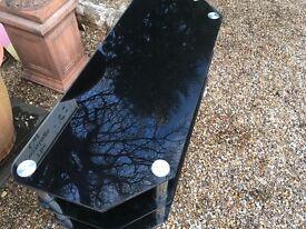 Black glass TV stand ....114 cms x 45 cms x 50cms high