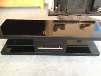 TV CABINET TV STAND LARGE BLACK HIGH GLOSS GLASS SHELVES & DRAWER HIGH QUALITY