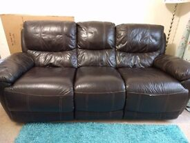 Good condition faux leather 3 seater recliner sofa