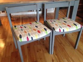 3 grey dining chairs with Laura Ashley fabric