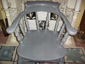 CAPTAINS CHAIR PAINTED SLATE GREY