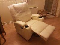 Lether swivol 9-in-1 massage recliner chair cream