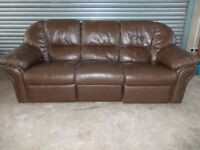 Brown Leather 3-seater Sofa with matching Recliner Armchair
