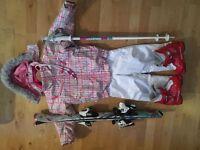 Girls Spyder Ski / Snowboard Jacket & Salopettes + Skis, Ski Boots & Poles