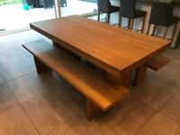 John Lewis Oak Henry Floating Top Dining Table plus 2x Benches