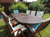 6/8 seater garden table with chairs