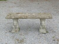 Vintage Cast Stone Garden Bench with Squirrel Feet Well Weathered 112cm long (1034)