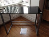 Black Glass Desk from Homebase - Exc Condition 100cms x 50 cms x 76 cm