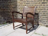 FREE DELIVERY Retro Wooden Rattan Cane Armchair Vintage Furniture W