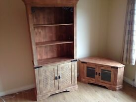Matching bookcase and TV corner unit in light oak colour. Good condition.