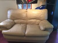 FREE Cream Leather Sofa. 157cm x 80cm