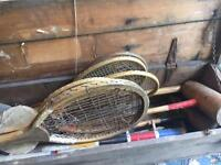 Crate of antique rackets & games