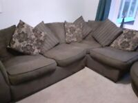 Corner Sofa and swivel chair with foot stool