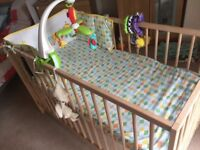 ALL UNUSED - BABY COT WITH MATTRESS AND BEDDING, ELC LUXURY PLAYMAT AND TOMMEE TIPPE NAPPY DISPOSAL