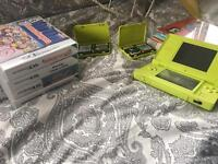 Green Nintendo DS w/ 4 games