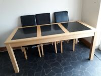 Large granite top dining table & 6 chairs